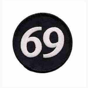 69 Back Patch Iron or Sew On - 7 3/4 inch Round