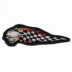 Flaming skull with checkered flag Iron on Patch
