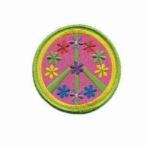 Green and Pink Flower Peace Sign Iron on Patch