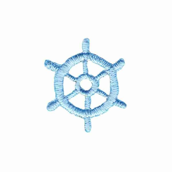 Tiny Nautical Wheel Iron on Patch in Light Blue