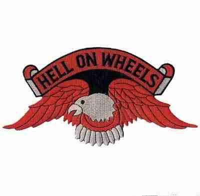 Hell on Wheels Orange Eagle Backpatch