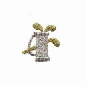 Golf - Tiny Golf Bag in Silver Iron on Patch - ONLY 10 left!