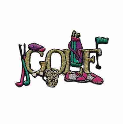 """Golf - Small """"GOLF"""" with Purple Accessories Iron On Patch Appliq"""