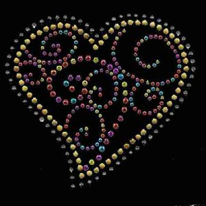 Hearts - Swirly Multi-colored Rhinestud and Rhinestone Heart Iro