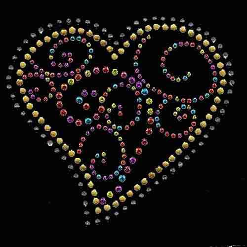 Hearts - Swirly Multi-colored Rhinestud and Rhinestone Heart Iro