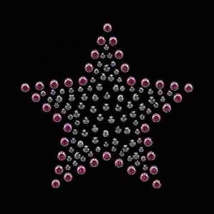 "Stars - Rhinestud Pink, Lavendar and silver star 4"" Iron on"