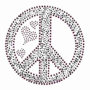 Zebra Peace Sign with hearts Iron on Rhinestud Applique