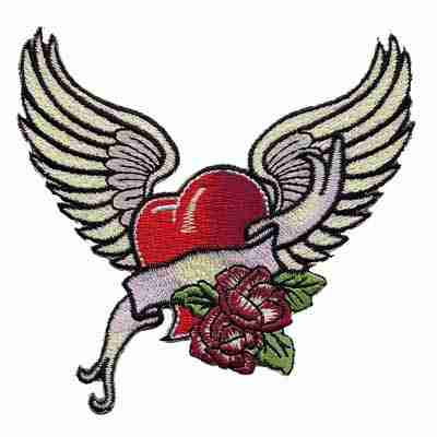 Tattoo Style Winged Heart Iron or sew on Patch
