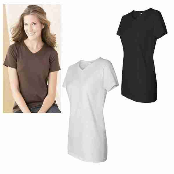 D) Ladies Shallow V-Neck 5.4oz Cotton Blank T-Shirt