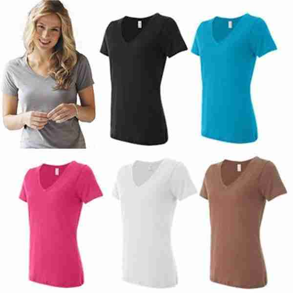 E) Ladies Mid-Depth V-Neck 3.2oz Cotton Blank T-Shirt