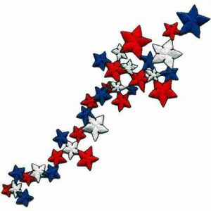 Patriotic Falling Star Spray Iron or Sew on Patch Applique