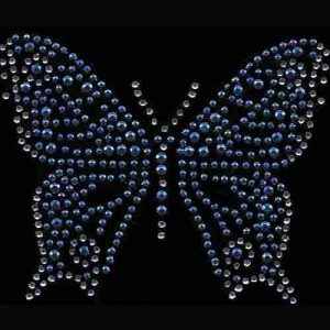 Butterflies - Medium Rhinestone Butterfly in BLUE Iron On Appliq