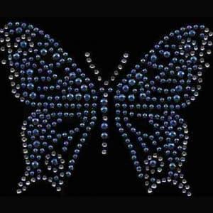 Butterflies - Medium Rhinestone Butterfly in BLUE Iron On Appliq