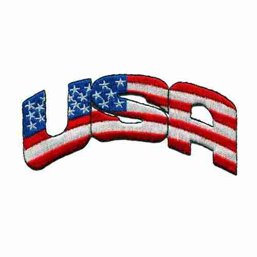 Patriotic USA Iron on Patch Applique American Flag Colored design