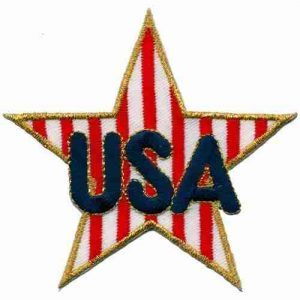 USA Patriotic Star Iron or Sew on Patch Applique