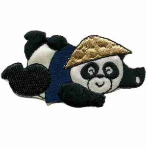 Panda Bear In Asian Hat & Vest Iron on Applique