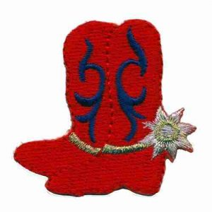 Red Hat Cowgirl Boots Iron on Patch Applique