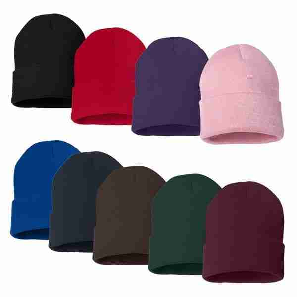 Solid Knit Beanie Hat Caps Long Fold Over Style