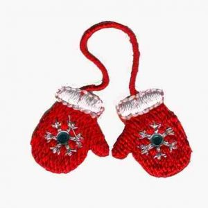 Christmas Mittens Embroidered Iron on Patch Applique