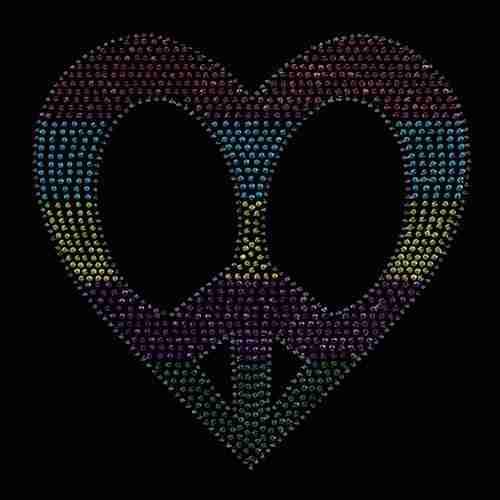 Heart Shaped Peace Sign Hotfix Applique