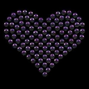 Large Purple Rhinestud Heart Hotfix Applique on black background