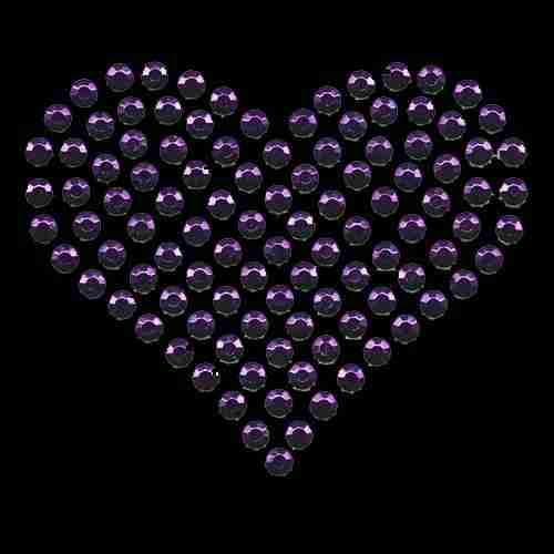 Large Purple Rhinestud Heart Hotfix Applique on black background