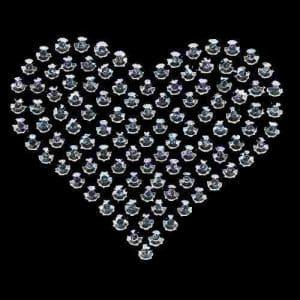 Silver Rhinestud Heart Hotfix Applique on Black background