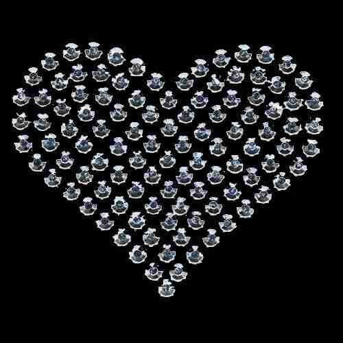 Silver Rhinestud Heart Hotfix Applique on Black background