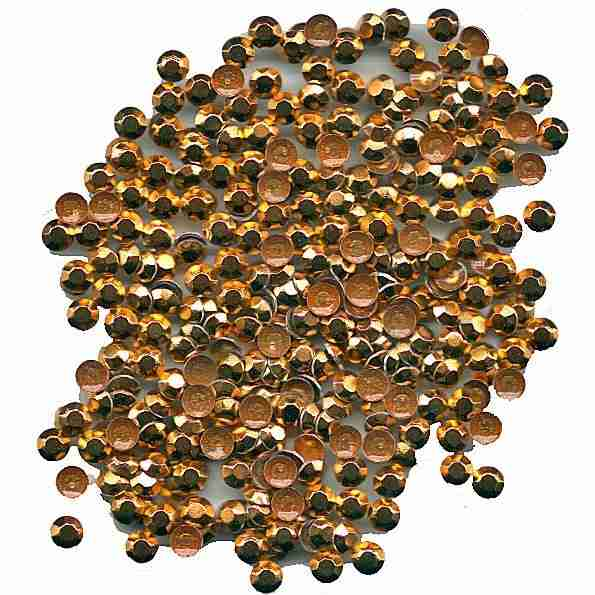 Gold Rhinestuds 3mm iron on backing