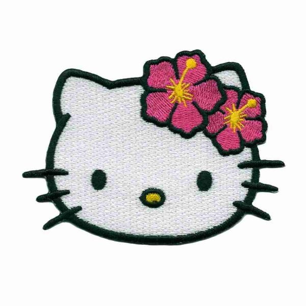 Hello Kitty Iron on Patch Applique with Pink Hibiscus Flowers