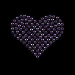 Hearts - Rhinestud Medium Purple Heart Applique