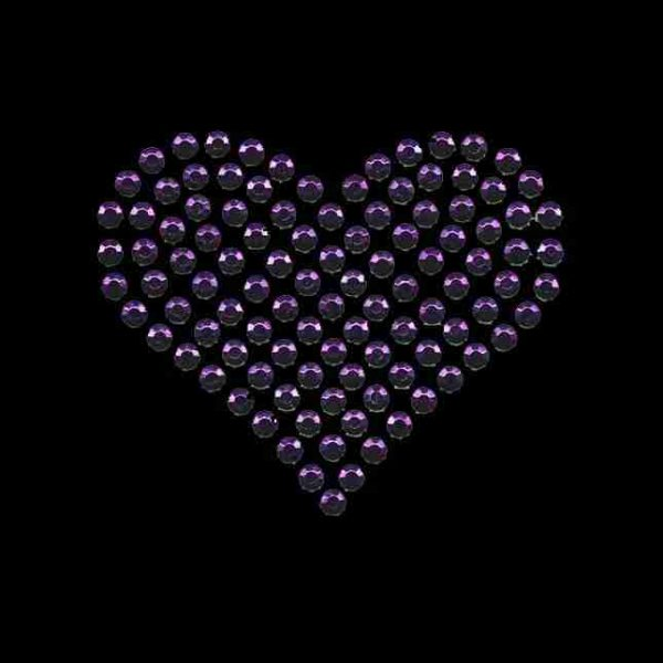 Hearts - Rhinestud Medium Purple Heart Applique