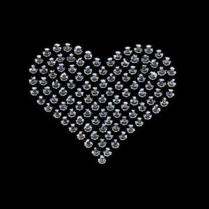 Hearts - Rhinestud Medium Silver Heart Iron on