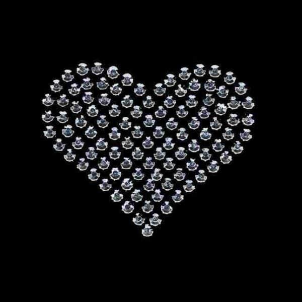 Hearts - Rhinestud Medium Silver Heart Iron on