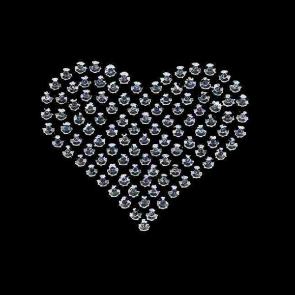 Hearts - Rhinestud Medium Silver Heart Iron On Applique on black