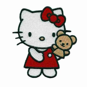 Hello Kitty Patch Applique with Red Dress and Bear Puppet
