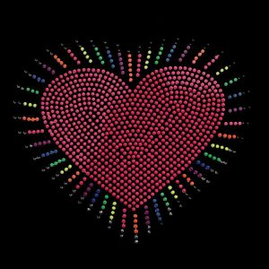 Heart Burst Iron on Neon Nailhead Applique on Black