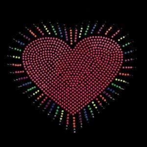 Heart Burst Iron on Neon Nailhead Applique on Black