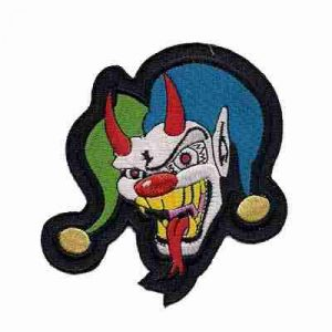 Evil Jester Patch in blue and green with Horns