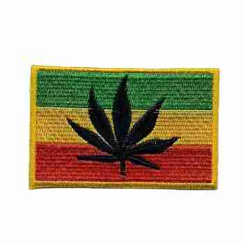 Rasta Flag Patch with Pot Leaf silhouette
