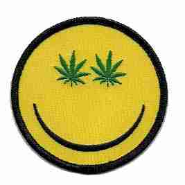 Stoned Happy Face Patch Marijuana Patches