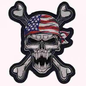 American bandana wearing Skull and Crossbones Patch
