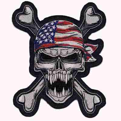 American bandana wearing Skull and Crossbones Patch