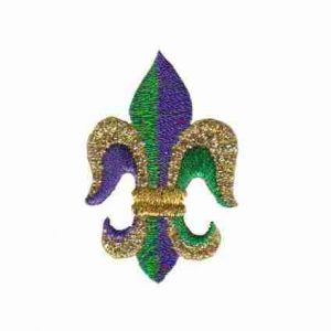 Fleur De Lis Iron on Patch Applique Purple Gold and Green