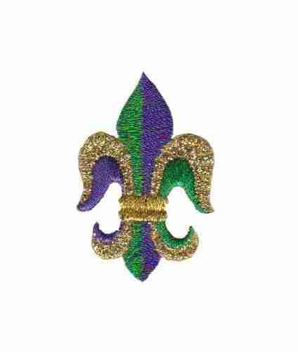 Fleur De Lis Iron on Patch Applique Purple Gold and Green