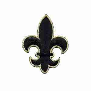 Fleur De Lis Iron on Patch Applique in Black and Gold NOLA