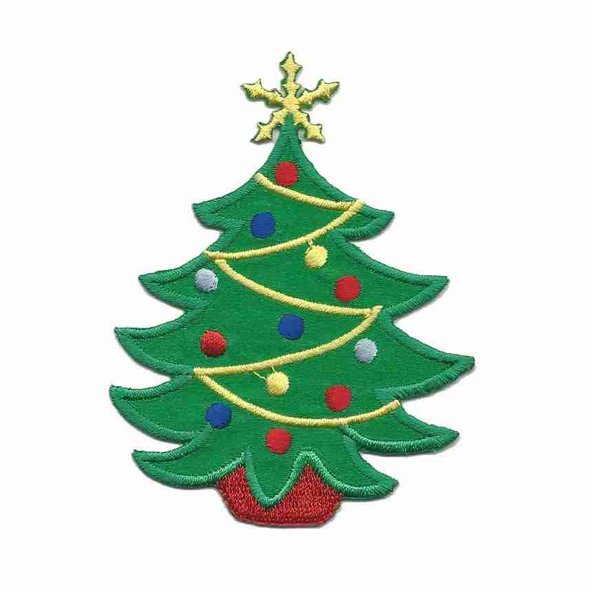 Christmas Tree Patch: Small Satin Christmas Tree Iron On Holiday Patch Applique