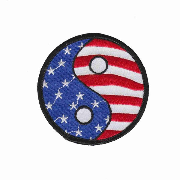American Flag Yin Yang Iron On Patriotic Patch Applique