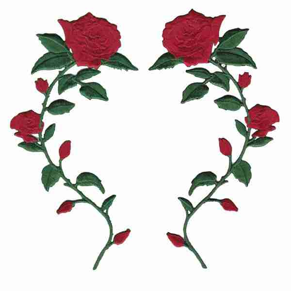 ROSES RED WITH STEM LEFT IRON ON FLOWER PATCH