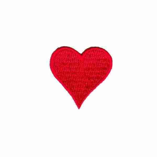 Red Embroidered Heart Patch